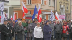 Senior People Are Chanting Democracy Rally Opole Poland Against President Stock Footage