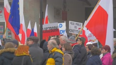 People With Placards Democracy Committee's Rally Opole Poland Meeting Against Stock Footage