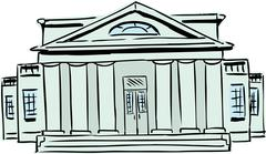 Court building with columns - stock illustration