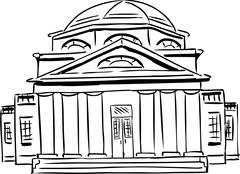 Outlined Church with Domed Roof - stock illustration