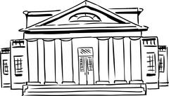 Outlined building with columns Stock Illustration