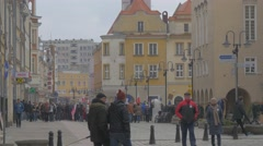 People Cars Taxi at Square Democratic Meeting Opole Poland Protest Against the Stock Footage