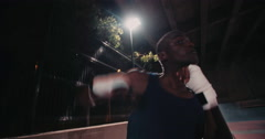 African american boxer athlete punching shadow boxing Stock Footage
