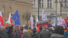 Meeting of Democracy Defense Committee Poland People Are Holding Polish Flags Stock Footage