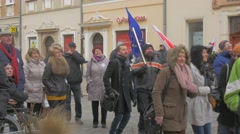 Activists Jump Chanting Democratic Meeting Opole Poland Protest Against the Stock Footage