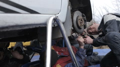 "Ukraine, Carpathians Rally Championship ""Winter peaks"" March - stock footage"