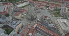Stock Video Footage of Drone shot of Dresden Frauenkirche amidst cityscape, Saxony, Germany