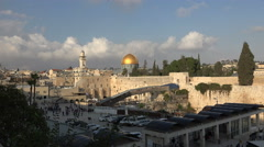 Old Jerusalem cityscape with western wall - Israel Stock Footage