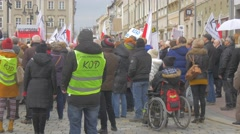 Meeting of Democracy Committee Opole Poland People in Yellow Vests Boy on Stock Footage