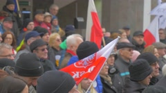 Crowd Polish Flag Democratic Meeting Opole Poland Protest Against the Stock Footage