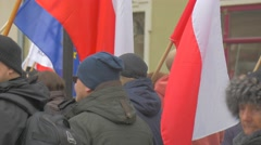 People With Flags Democracy Defense Meeting Opole Poland People Are Holding a Stock Footage
