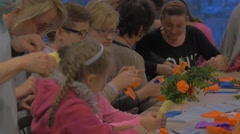 People Making Paper Flowers Bouquets Family Master Class Opole Poland Making Stock Footage