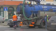 Workers Blue Tank Opole City Day Sewer Cleaning Stormwater Runoff Cleaning Stock Footage