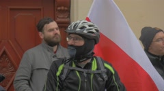 Democracy Defense Meeting Cyclist Carrying Polish Flag People Are Standing and Stock Footage