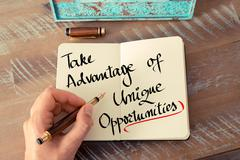 Text Take Advantage Of Unique Opportunities - stock photo