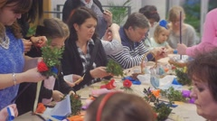 Women Men Kids Are Making Paper Flowers Family Master Class Opole Poland Stock Footage
