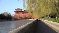 Tourists on the promenade of Tongzi River around Forbidden City. Beijing, China Stock Footage