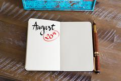 August 20 Calendar Day handwritten on notebook - stock photo