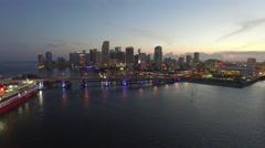 Downtown Miami night aerial stock video Stock Footage