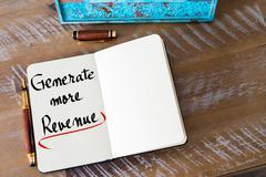 Written text Generate More Revenue Stock Photos