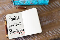 Written text Build Content Strategies - stock photo