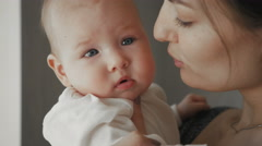 Cute Portrait of Beautiful Attractive Young Mother and Baby Stock Footage