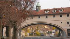 Building arch over Karlovska street in Ljubljana Stock Footage