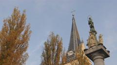 Saint James Church and Saint Mary's statue in Ljubljana Stock Footage