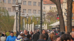 Crowded area in Ljubljana Stock Footage