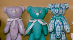 Handmade Toy Bears Blue Stock Footage