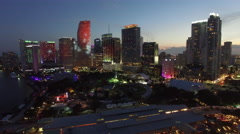 Downtown Miami Ultra Music Festival disco lights Stock Footage