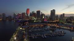 Downtown Miami Ultra Music Festival setup Stock Footage