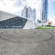 Empty asphalt road and modern buildings in guangdong Stock Photos