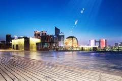 Empty wood floor with cityscape and skyline of hangzhou Stock Photos