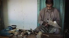 Portrait of an artisan in douz, tunisia Stock Footage