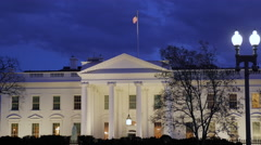 US White house at night - close Stock Footage