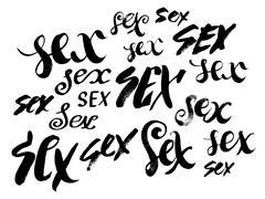 Sex. Hand drawn lettering. Serigraphy shirt print - stock illustration