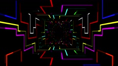 3d digital futuristic tunnel path with geometric electrical line background Stock Footage