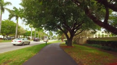 Motion video of the Aventura fitness trail around the golf course Stock Footage