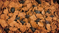 Cereal Flakes And Raisins Rotate Slowly Stock Footage