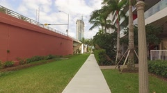 Pedetrian path under the Hallandale Beach bridge Stock Footage