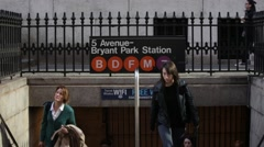 People Commuters at Subway Entrance in Manhattan New York Stock Video Stock Footage