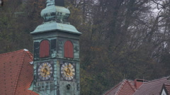 Clock tower of the Town Hall inLjubljana Stock Footage