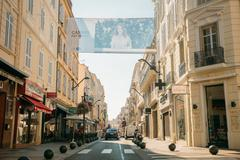 View of city street with parking restrictions balls barriers in Stock Photos