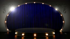 Blue curtain stage with podium and loop lights Stock Footage