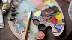 Artist palette in art concept Stock Footage