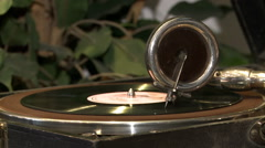 An antique gramophone. Stock Footage