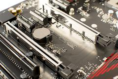 Computer Motherboard GPU Graphic card slots - stock photo