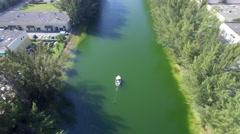 Water skiing aerial video Stock Footage