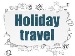 Stock Illustration of Vacation concept: Holiday Travel on Torn Paper background